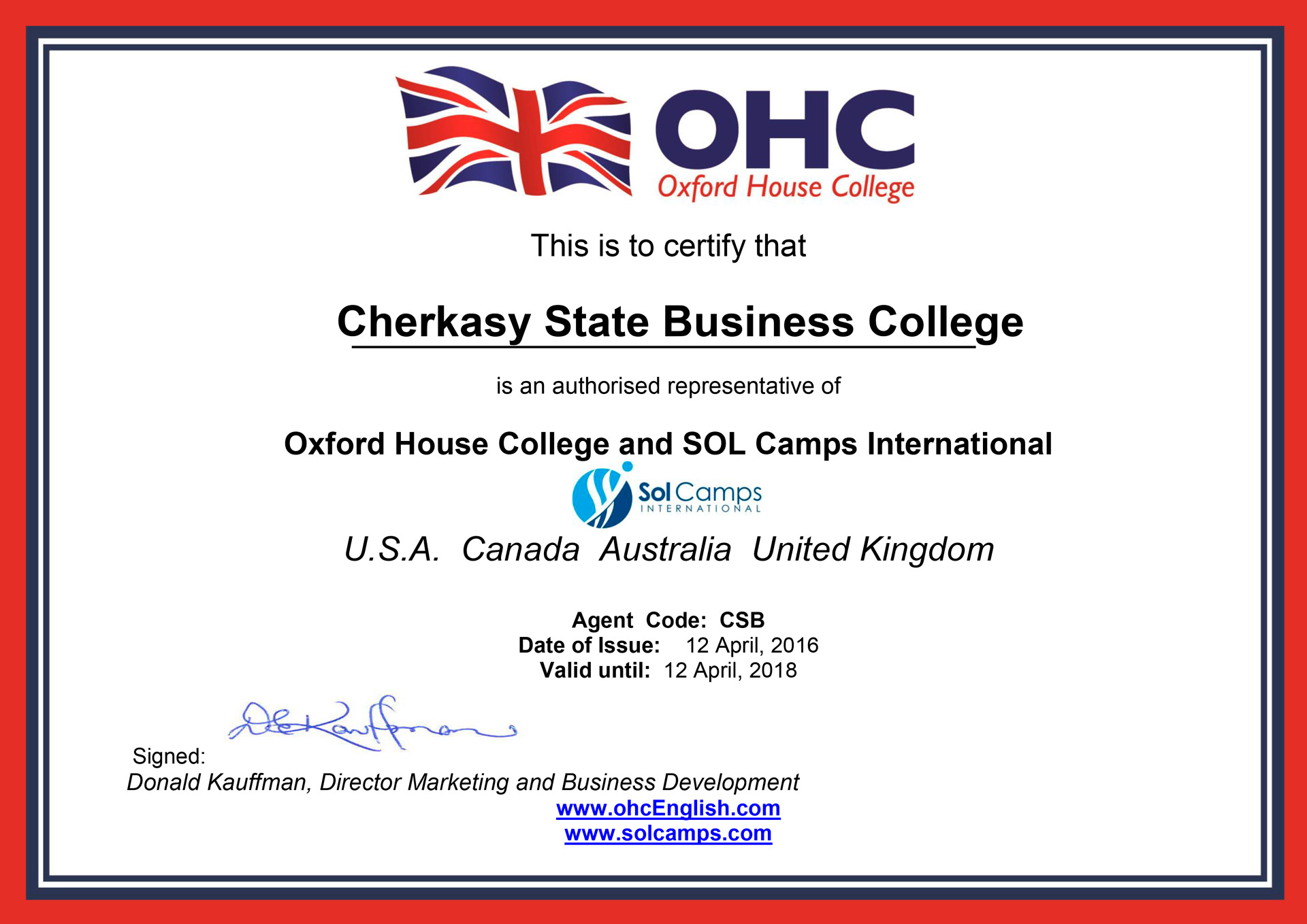 Угода про співпрацю з Oxford House College and SOL Camps International
